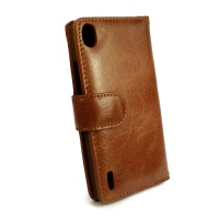 Tuff Luv Tuff-Luv Vintage Leather Wallet Case Cover for Huawei Ascend P8 - Brown Photo