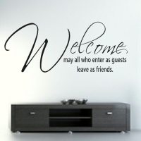 Bedight Wall Art Bedight May All Who Enter As Guests Leave As Friends Vinyl Wall Art Photo