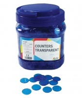 Teachers First Choice Counters 22mm Transparent Blue Photo