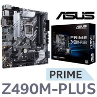 ASUS Prime Z490M-PLUS Intel mATX Motherboard / Intel Z490 Chipset / Supports 10th Gen Processors only / LGA 1200 / Supports 2 x M.2 slots and 5 x SATA 6Gb/s ports / USB 3.2 Gen 2 / 1x USB 3.2 Type-C / Supports AMD 2-Way CrossFireX Technology / 90MB12W0-M0 Photo