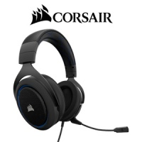 Corsair HS50 Stereo Gaming Headset - Black/Blue / Precision Gaming Audio / PC/Xbox/PS4 Multi-Platform Compatibility / Frequency Response 20Hz-20 kHz / 3.5mm Analog / CA-9011172 Photo