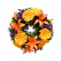 Colourful Sympathy Wreath - Fresh Flowers Photo