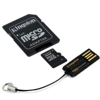 Kingston MicroSDHC 16GB Class 10 with SD Adapter and Micro Card Reader Photo