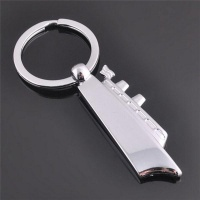 3D Silver Cruises Ship Boat Model Key Chain Metal Keyring Gift Photo