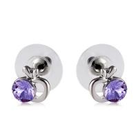 SDP 1 Pair Stylish Apple-shaped Purple Crystal Studded Earrings Photo