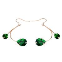 SDP 1 Pair Green Crystal Gold Pendant Earrings Photo