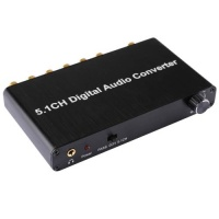 SDP 5.1CH Digital Audio Decoder Converter with Optical Toslink SPDIF Coaxial for Home Theater / PS4 / PS3 / XBOX360 Support Volume Control AC-3 DTS Photo