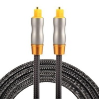 SDP 1.5m OD6.0mm Gold Plated Metal Head Woven Line Toslink Male to Male Digital Optical Audio Cable Photo