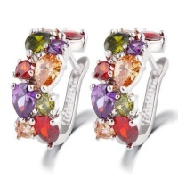 SDP 1 pair colorful zircon earrings stud jewelry for women and girls Photo
