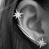 SDP 1 Pair Ladies Simple Fashion Flash Diamond Asymmetrical Star Snowflake Ear Clips Photo
