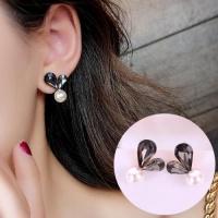 SDP 1 Pair Ladies Sweet Cute Shining Heart Full Luster Bead Earring Studs Photo