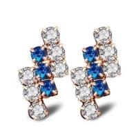 SDP 1 Pair Of 18 k Gold Irregular Geometrical Sterling Silver Crystal Stud Earring Women 21*9 mm Photo