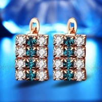 SDP 1 pair of 18 k gold rectangle shape sterling silver crystal stud earring for women 16*9 mm Photo