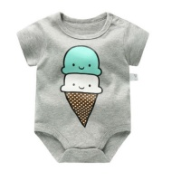 South African Importers 100% Cotton Baby Printed Bodysuits - Ivory / 6M Photo