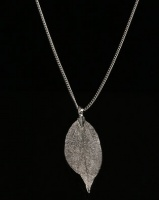 All Heart Mini Leaf Necklace Silver Tone Photo