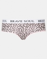 Brave Soul Knickers Branded Waistband Contrast Logo And Print Multi Photo