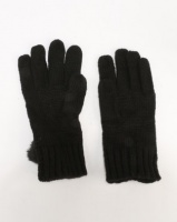 New Look Cable Faux Fur Pom Gloves Black Photo
