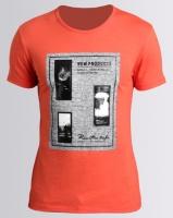 Josalem Tweed Printed Slim Fit Tee Red-Orange Photo