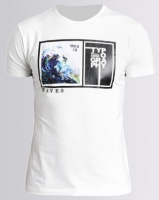 Michael Farwhale Wave Print Slim Fit Tee White Photo