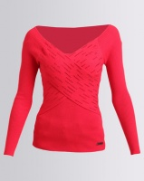 Sissy Boy Assymetric Bling Knitwear Top Red Photo