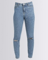 Brave Soul Mom Jeans With Pearls Light Denim Photo