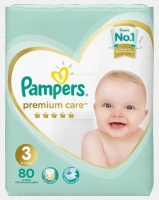 Pampers Premium Care Midi Size 3 Jumbo Pack 80 by Photo