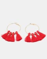 New Look Tassel Hoop Earrings Bright Red Photo