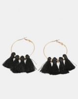 New Look Tassel Hoop Earrings Black Photo