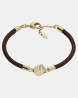 Fossil Lobster Clasp Leather Bracelet Brown Photo