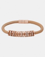 Fossil Charmed Leather Bracelet Rose Gold-plated Photo