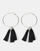 Black Lemon Multi Tassel Hoop Earrings Black Photo