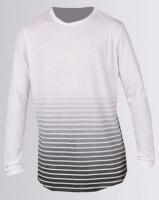 Unruly Ombre Stripe Round Hem T-Shirt White Photo