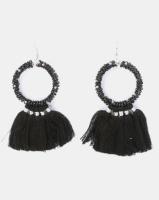 Joy Collectables Beaded Hoop Tassel Earrings Black Photo