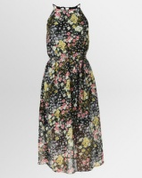 New Look Floral High Neck Belted Midi Dress Black Photo