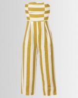 London Hub Fashion Striped Bandeau Jumpsuit White/Yellow Photo