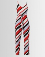 London Hub Fashion Striped Side Split Cami Jumpsuit White/Red/Black Photo