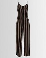 London Hub Fashion Vertical Stripe Wide Leg Jumpsuit Black/Nude Photo