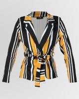 London Hub Fashion Stripe Belted Waist Blazer Black Photo