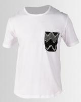 Resist Printed Pocket Scoop T-shirt White Photo
