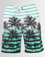 Utopia Turquoise Palm Print Swim Shorts With Inner Support Photo