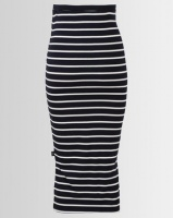 Cherry Melon Maxi Skirt With Side Slits Navy/White Stripe Photo