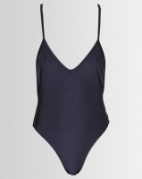 London Hub Fashion Shiny Navy Swimsuit With D Ring Detail Navy Photo