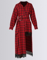 Liquorish Tartan Asymmetric Dress Red Photo