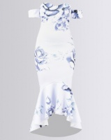 City Goddess London Rose Print Fishtail Midi with Sweetheart Neckline Blue Photo