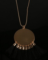 All Heart Disk and Tassel Necklace Black Photo