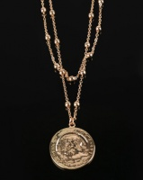 All Heart Coin Detail Double Layer Necklace Gold Toned Photo