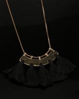 All Heart Fan Tassel Necklace Black Photo