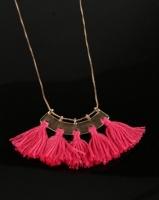 All Heart Fan Tassel Necklace Pink Photo
