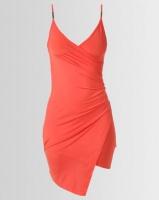 New Look Hardware Strap Asymmetric Wrap Dress Bright Orange Photo