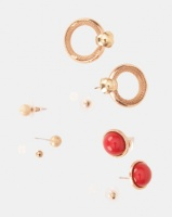 Bijoutique 3 Pack Gold And Red Circle Drop Stud Set Gold Photo